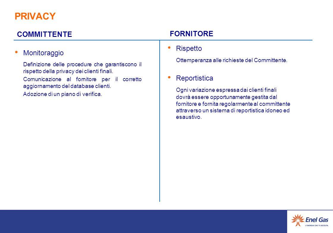 PRIVACY Rispetto Ottemperanza alle richieste del Committente.