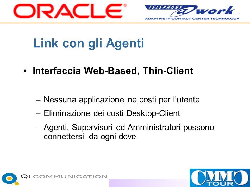 Link con gli Agenti Interfaccia Web-Based, Thin-Client –Nessuna applicazione ne costi per lutente –Eliminazione dei costi Desktop-Client –Agenti, Supervisori ed Amministratori possono connettersi da ogni dove