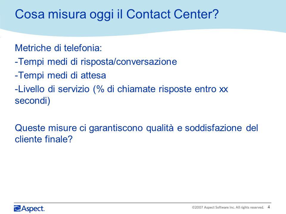 4 Cosa misura oggi il Contact Center? Metriche di telefonia: -Tempi medi di risposta/conversazione -Tempi medi di attesa -Livello di servizio (% di ch