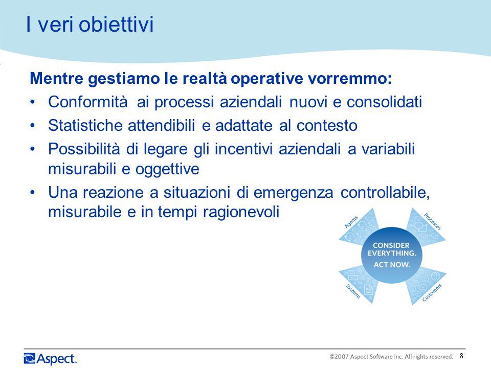 8 I veri obiettivi Mentre gestiamo le realtà operative vorremmo: Conformità ai processi aziendali nuovi e consolidati Statistiche attendibili e adatta