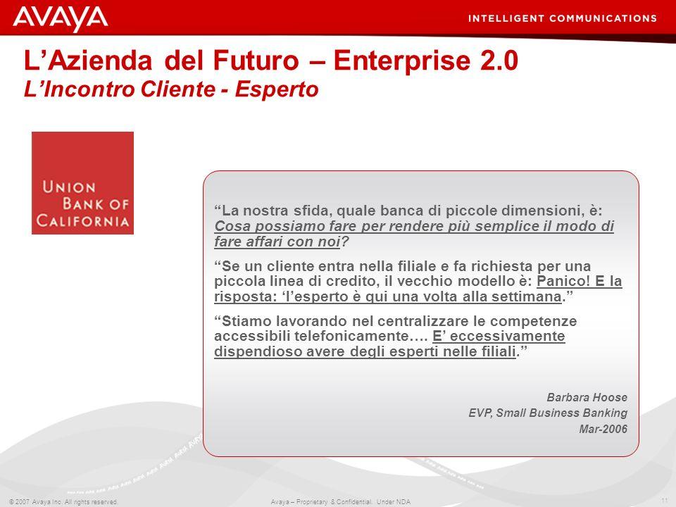 11 © 2007 Avaya Inc. All rights reserved. Avaya – Proprietary & Confidential. Under NDA LAzienda del Futuro – Enterprise 2.0 LIncontro Cliente - Esper