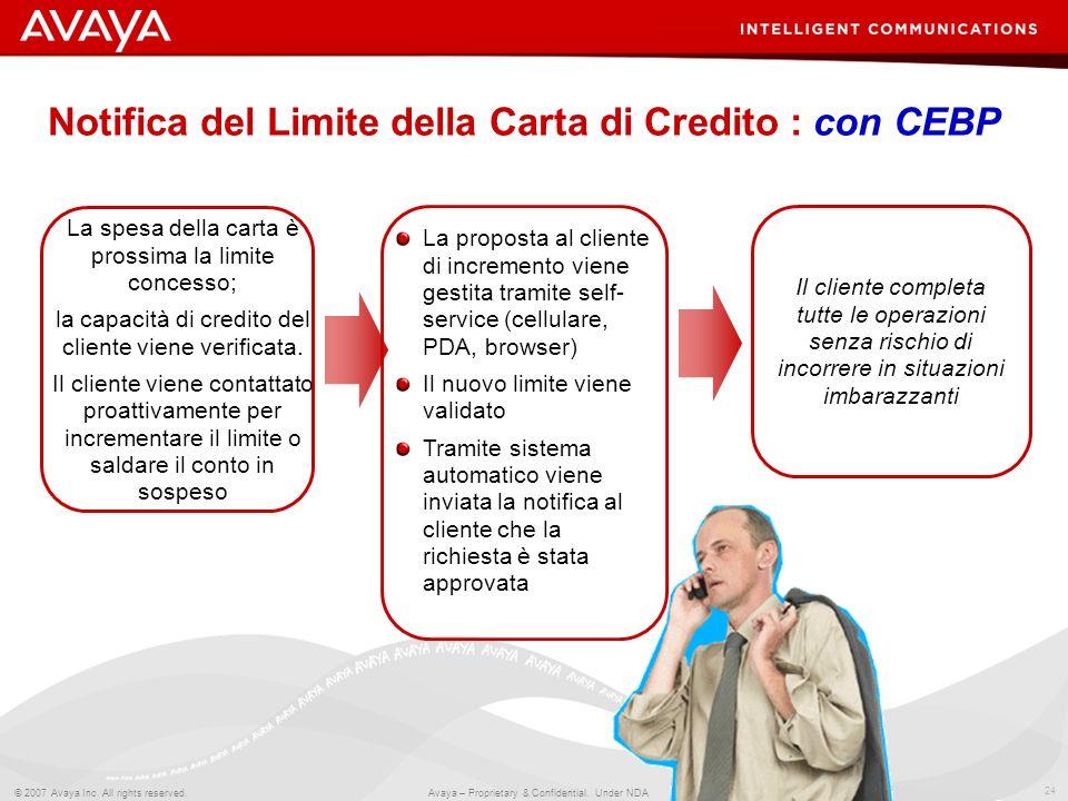24 © 2007 Avaya Inc. All rights reserved. Avaya – Proprietary & Confidential. Under NDA Notifica del Limite della Carta di Credito : con CEBP La spesa