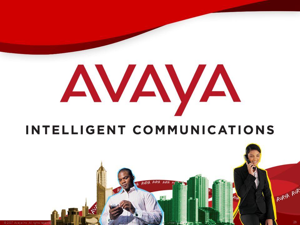 29 © 2007 Avaya Inc. All rights reserved. Avaya – Proprietary & Confidential. Under NDA