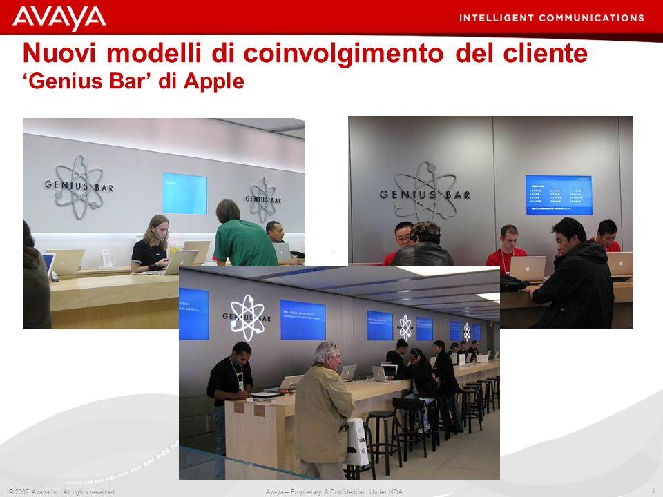 3 © 2007 Avaya Inc. All rights reserved. Avaya – Proprietary & Confidential. Under NDA Nuovi modelli di coinvolgimento del cliente Genius Bar di Apple