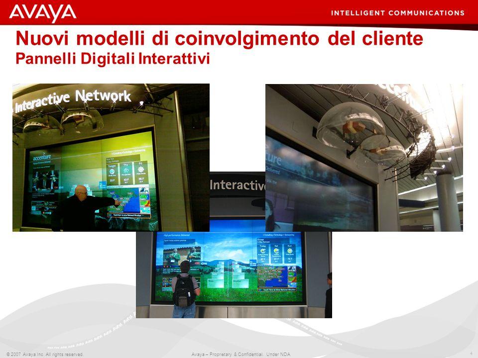 4 © 2007 Avaya Inc. All rights reserved. Avaya – Proprietary & Confidential. Under NDA Nuovi modelli di coinvolgimento del cliente Pannelli Digitali I