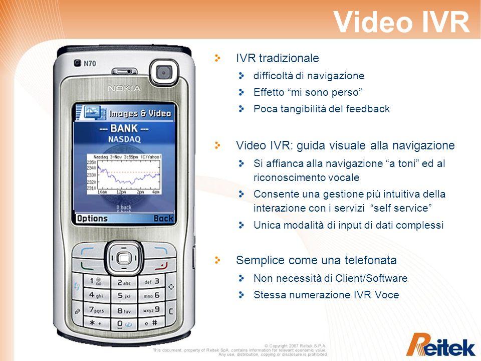 Video IVR IVR tradizionale difficoltà di navigazione Effetto mi sono perso Poca tangibilità del feedback Video IVR: guida visuale alla navigazione Si