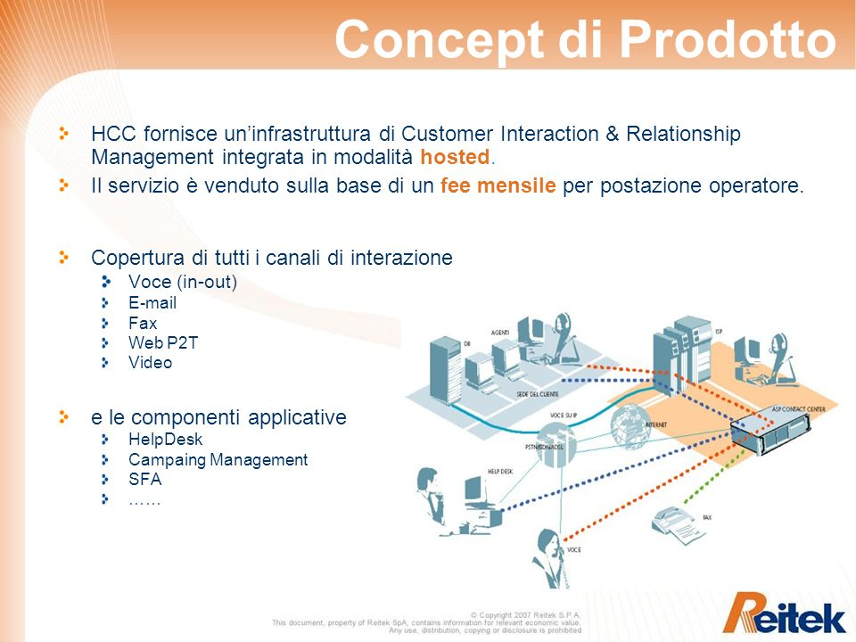 Concept di Prodotto HCC fornisce uninfrastruttura di Customer Interaction & Relationship Management integrata in modalità hosted.