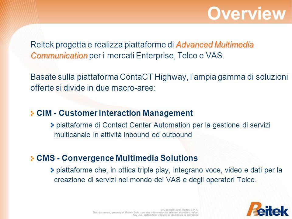 Overview Advanced Multimedia Communication Reitek progetta e realizza piattaforme di Advanced Multimedia Communication per i mercati Enterprise, Telco