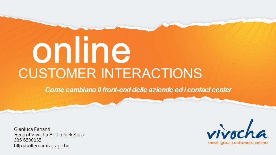 Come cambiano il front-end delle aziende ed i contact center Gianluca Ferranti Head of Vivocha BU | Reitek S.p.a. 335-6500035 http://twitter.com/vi_vo