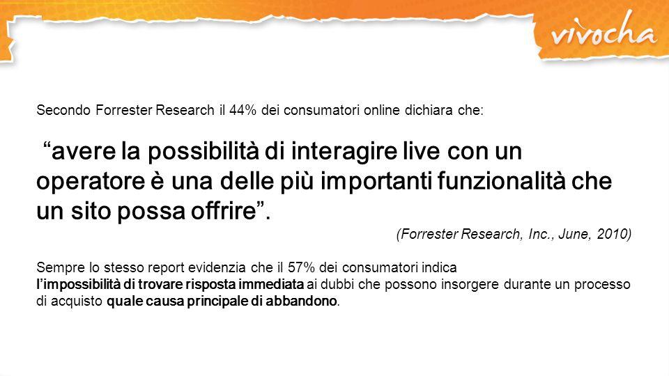 Secondo Forrester Research il 44% dei consumatori online dichiara che: avere la possibilità di interagire live con un operatore è una delle più import