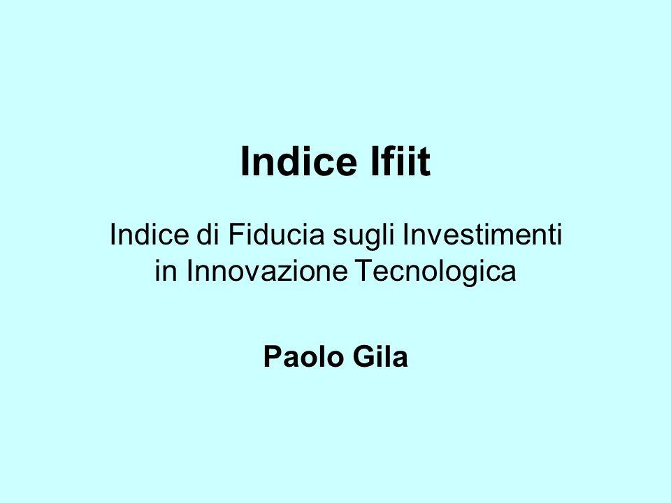 Indice Ifiit Indice di Fiducia sugli Investimenti in Innovazione Tecnologica Paolo Gila