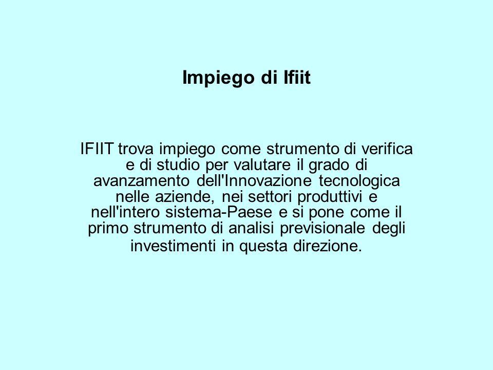 Impiego di Ifiit IFIIT trova impiego come strumento di verifica e di studio per valutare il grado di avanzamento dell Innovazione tecnologica nelle aziende, nei settori produttivi e nell intero sistema-Paese e si pone come il primo strumento di analisi previsionale degli investimenti in questa direzione.