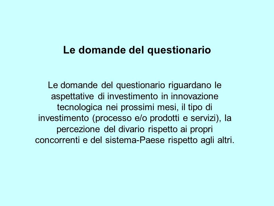 Le domande del questionario Le domande del questionario riguardano le aspettative di investimento in innovazione tecnologica nei prossimi mesi, il tipo di investimento (processo e/o prodotti e servizi), la percezione del divario rispetto ai propri concorrenti e del sistema-Paese rispetto agli altri.
