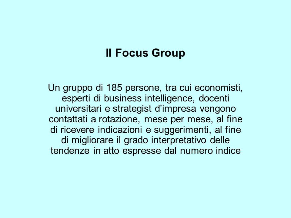 Il Focus Group Un gruppo di 185 persone, tra cui economisti, esperti di business intelligence, docenti universitari e strategist dimpresa vengono contattati a rotazione, mese per mese, al fine di ricevere indicazioni e suggerimenti, al fine di migliorare il grado interpretativo delle tendenze in atto espresse dal numero indice