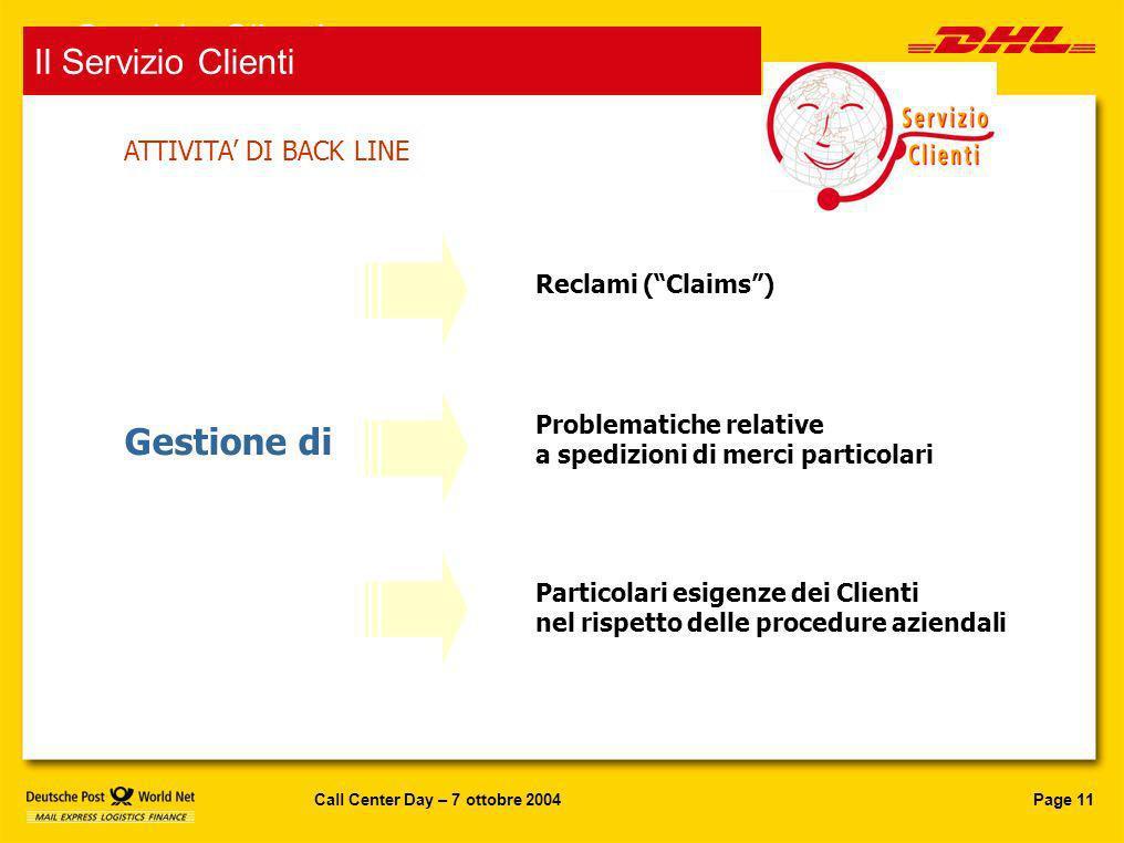 Page 11Call Center Day – 7 ottobre 2004 Reclami (Claims) Gestione di Problematiche relative a spedizioni di merci particolari Particolari esigenze dei