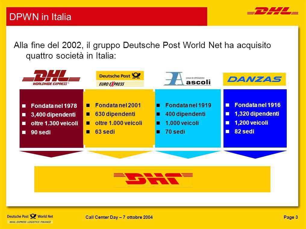 Page 3Call Center Day – 7 ottobre 2004 DPWN in Italia Alla fine del 2002, il gruppo Deutsche Post World Net ha acquisito quattro società in Italia: Fo