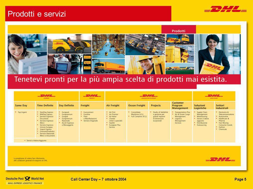 Page 6Call Center Day – 7 ottobre 2004 DHL in Italia In Italia la nuova DHL conta: 7.500 dipendenti 14 aerei 40 voli giornalieri (trasporto espresso) 4.600 veicoli 86.000 clienti 13 hub aerei e marittimi Oltre 15.000 destinazioni raggiunte Oltre 300 sedi Il Gruppo DHL in Italia