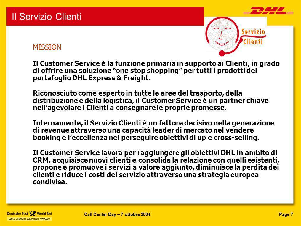 Page 7Call Center Day – 7 ottobre 2004 Servizio Clienti MISSION Il Customer Service è la funzione primaria in supporto ai Clienti, in grado di offrire