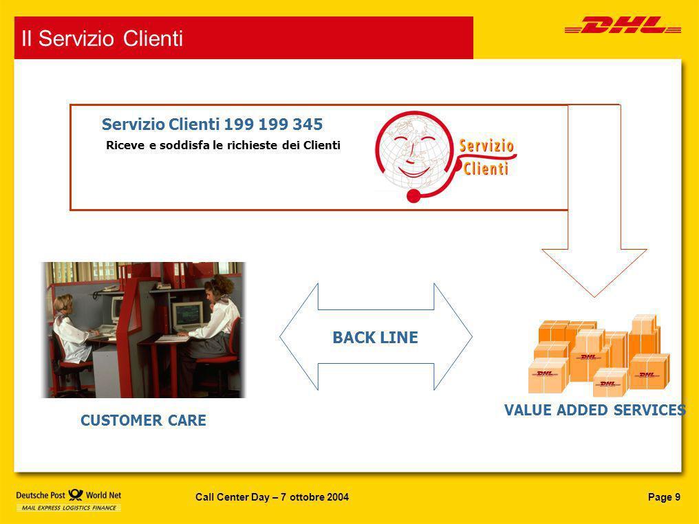 Page 9Call Center Day – 7 ottobre 2004 VALUE ADDED SERVICES CUSTOMER CARE BACK LINE Riceve e soddisfa le richieste dei Clienti Servizio Clienti 199 19