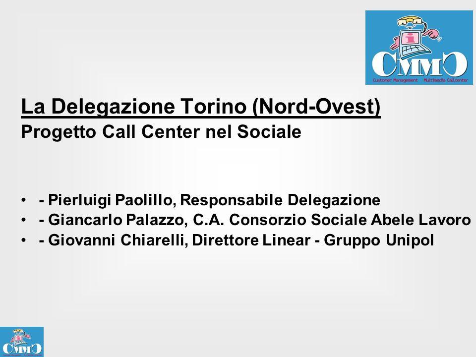 La Delegazione Torino (Nord-Ovest) Progetto Call Center nel Sociale - Pierluigi Paolillo, Responsabile Delegazione - Giancarlo Palazzo, C.A. Consorzio