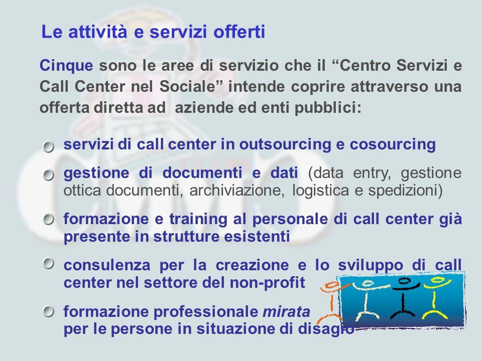 Le attività e servizi offerti Cinque sono le aree di servizio che il Centro Servizi e Call Center nel Sociale intende coprire attraverso una offerta d