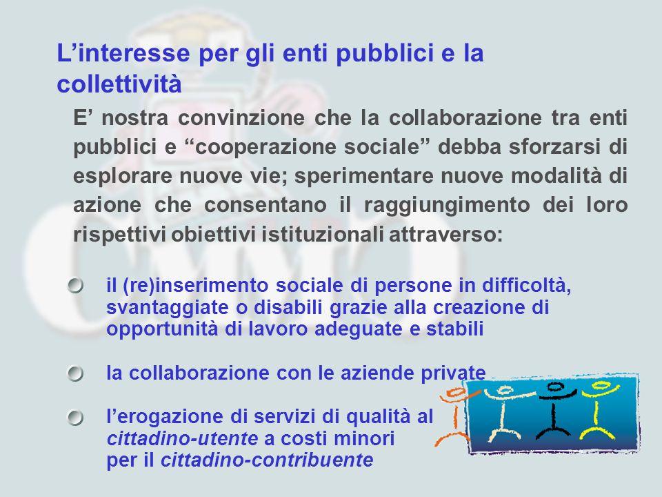 Linteresse per gli enti pubblici e la collettività E nostra convinzione che la collaborazione tra enti pubblici e cooperazione sociale debba sforzarsi