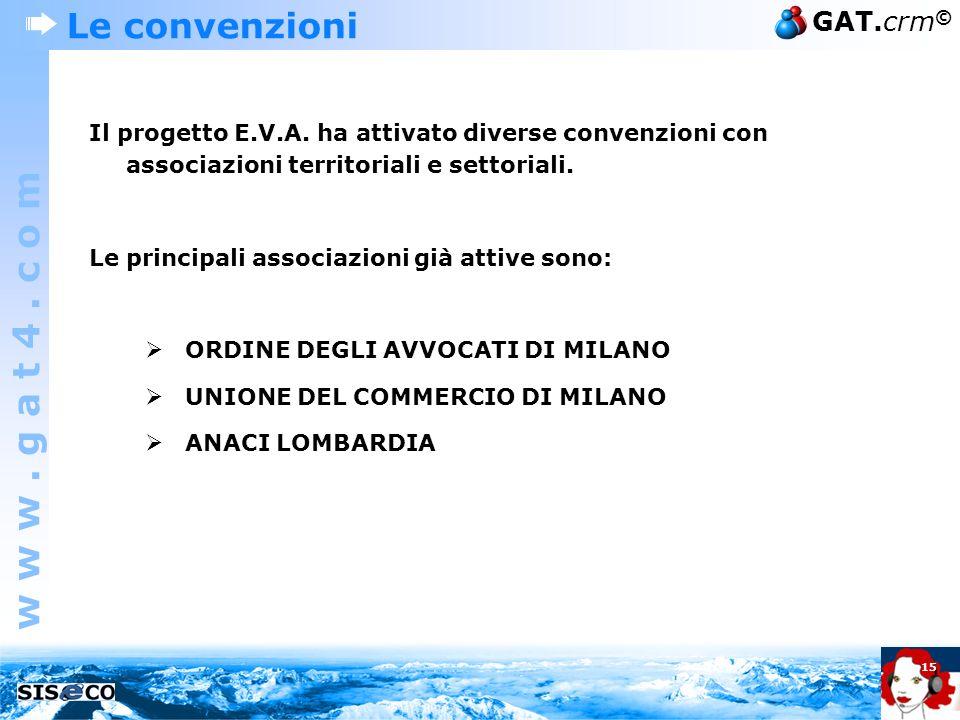 w w w. g a t 4. c o m GAT.crm © 15 Le convenzioni Il progetto E.V.A. ha attivato diverse convenzioni con associazioni territoriali e settoriali. Le pr