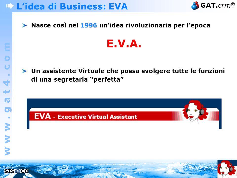 w w w. g a t 4. c o m GAT.crm © 5 1996 Nasce così nel 1996 unidea rivoluzionaria per lepoca E.V.A. Un assistente Virtuale che possa svolgere tutte le