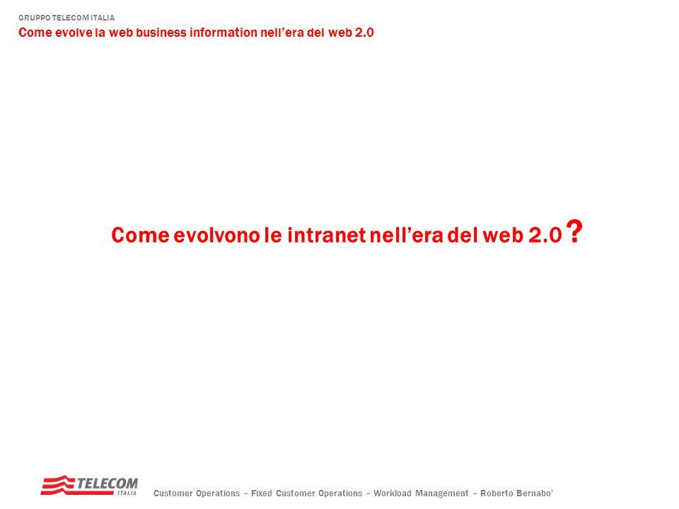 GRUPPO TELECOM ITALIA Come evolve la web business information nellera del web 2.0 Customer Operations – Fixed Customer Operations – Workload Management – Roberto Bernabo tutti gli utenti stanno diventando …