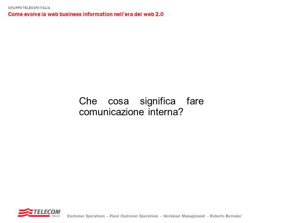 GRUPPO TELECOM ITALIA Come evolve la web business information nellera del web 2.0 Customer Operations – Fixed Customer Operations – Workload Management – Roberto Bernabo alimentatori di percezioni provenienti dal cliente