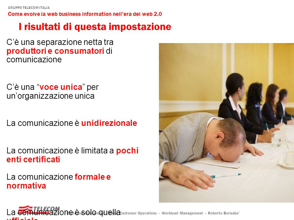 GRUPPO TELECOM ITALIA Come evolve la web business information nellera del web 2.0 Customer Operations – Fixed Customer Operations – Workload Management – Roberto Bernabo … ma è sempre più soprattutto