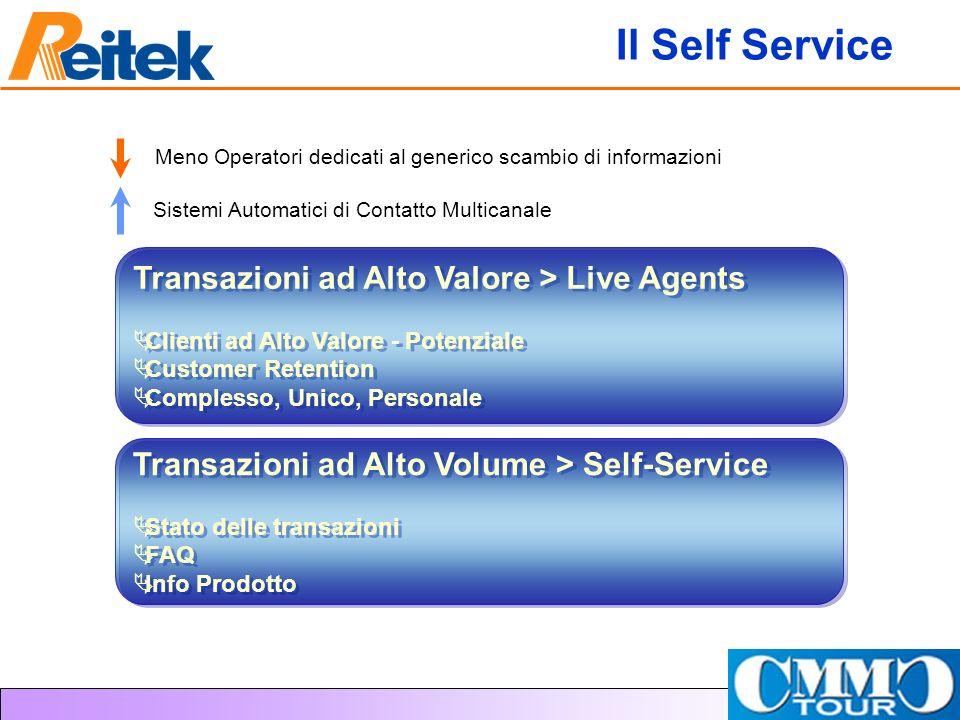 Il Self Service Transazioni ad Alto Valore > Live Agents Clienti ad Alto Valore - Potenziale Customer Retention Complesso, Unico, Personale Transazion