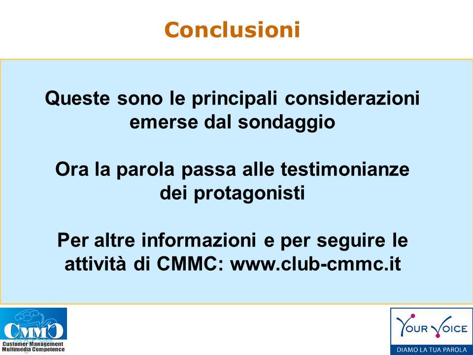 Queste sono le principali considerazioni emerse dal sondaggio Ora la parola passa alle testimonianze dei protagonisti Per altre informazioni e per seguire le attività di CMMC: www.club-cmmc.it Conclusioni