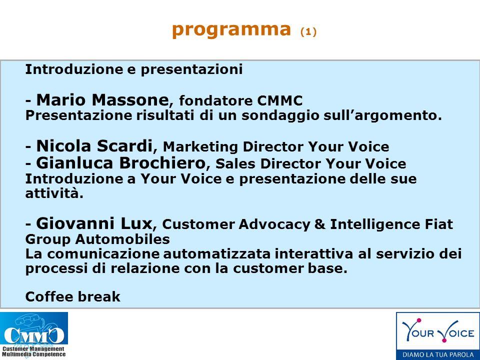 Introduzione e presentazioni - Mario Massone, fondatore CMMC Presentazione risultati di un sondaggio sullargomento.