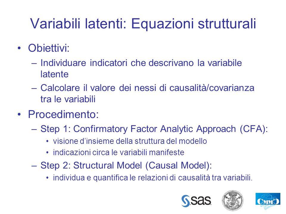 Variabili latenti: Equazioni strutturali Obiettivi: –Individuare indicatori che descrivano la variabile latente –Calcolare il valore dei nessi di caus