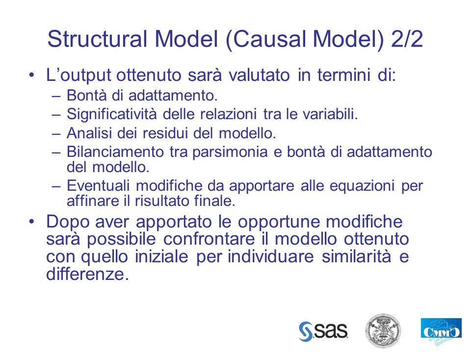 Structural Model (Causal Model) 2/2 Loutput ottenuto sarà valutato in termini di: –Bontà di adattamento. –Significatività delle relazioni tra le varia