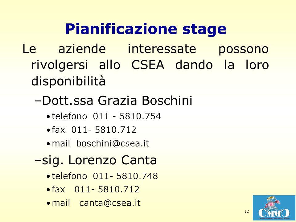 12 Pianificazione stage Le aziende interessate possono rivolgersi allo CSEA dando la loro disponibilità –Dott.ssa Grazia Boschini telefono 011 - 5810.754 fax 011- 5810.712 mail boschini@csea.it –sig.