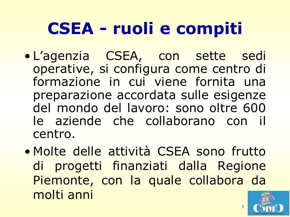 3 CSEA - ruoli e compiti Lagenzia CSEA, con sette sedi operative, si configura come centro di formazione in cui viene fornita una preparazione accorda
