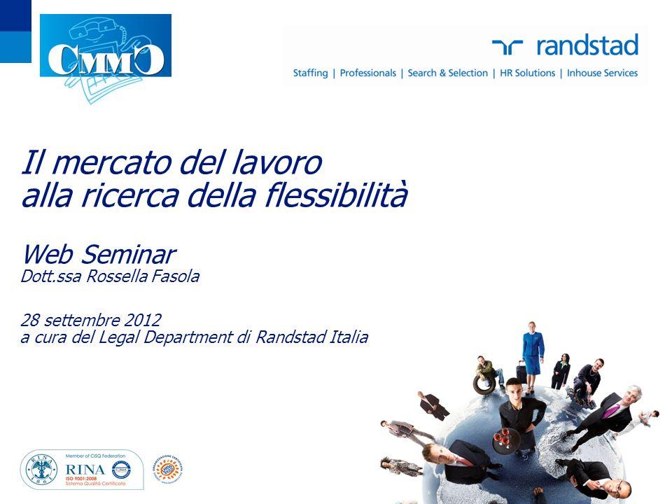Il mercato del lavoro alla ricerca della flessibilità Web Seminar Dott.ssa Rossella Fasola 28 settembre 2012 a cura del Legal Department di Randstad Italia