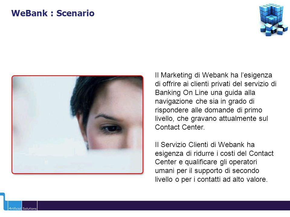 Il Marketing di Webank ha lesigenza di offrire ai clienti privati del servizio di Banking On Line una guida alla navigazione che sia in grado di rispo