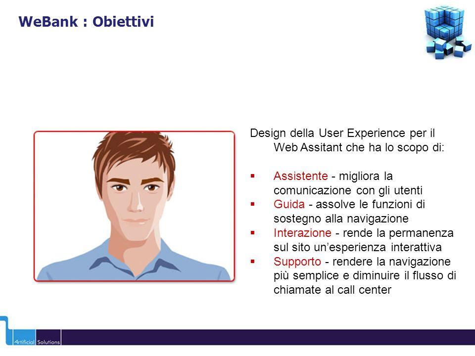 Design della User Experience per il Web Assitant che ha lo scopo di: Assistente - migliora la comunicazione con gli utenti Guida - assolve le funzioni