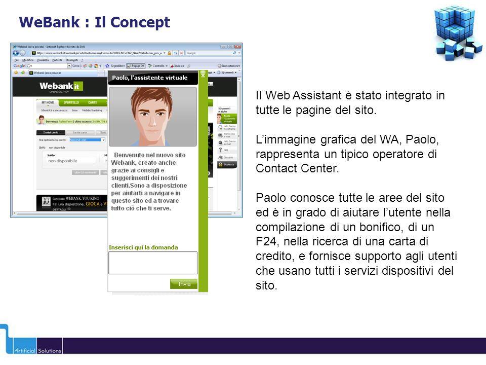 Il Web Assistant è stato integrato in tutte le pagine del sito. Limmagine grafica del WA, Paolo, rappresenta un tipico operatore di Contact Center. Pa
