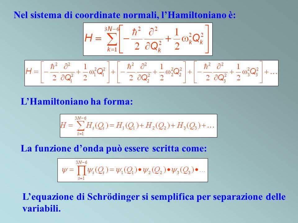 Nel sistema di coordinate normali, lHamiltoniano è: LHamiltoniano ha forma: La funzione donda può essere scritta come: Lequazione di Schrödinger si se
