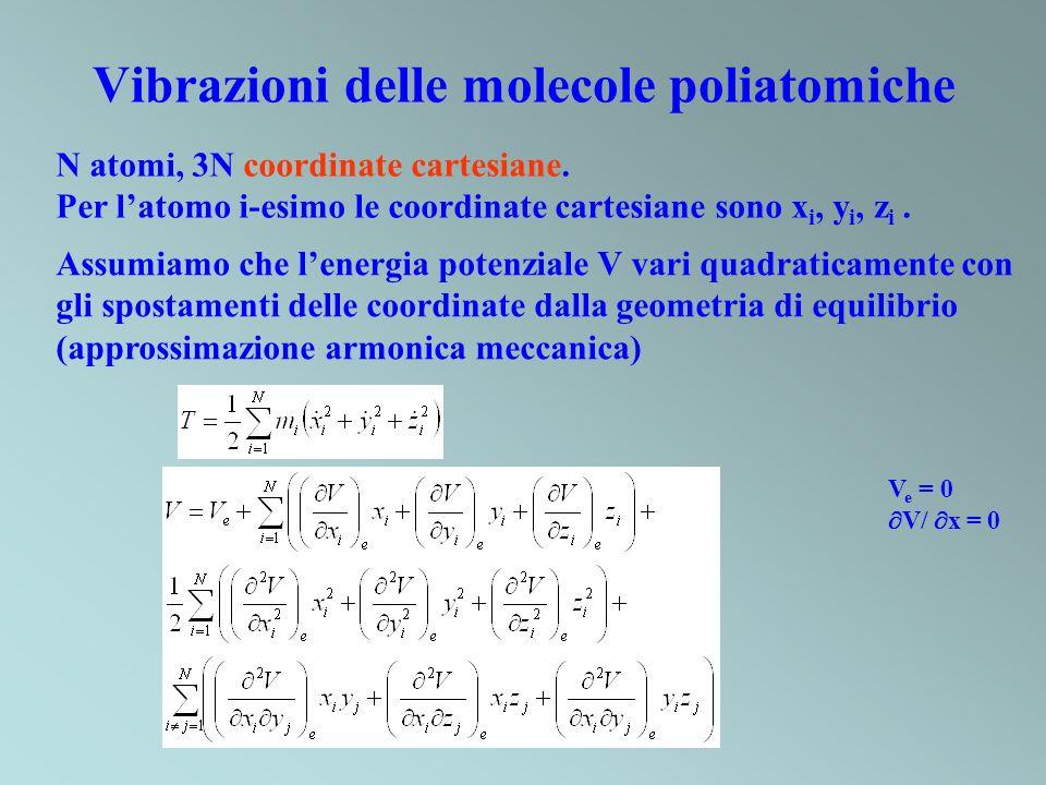 Vibrazioni delle molecole poliatomiche N atomi, 3N coordinate cartesiane. Per latomo i-esimo le coordinate cartesiane sono x i, y i, z i. Assumiamo ch