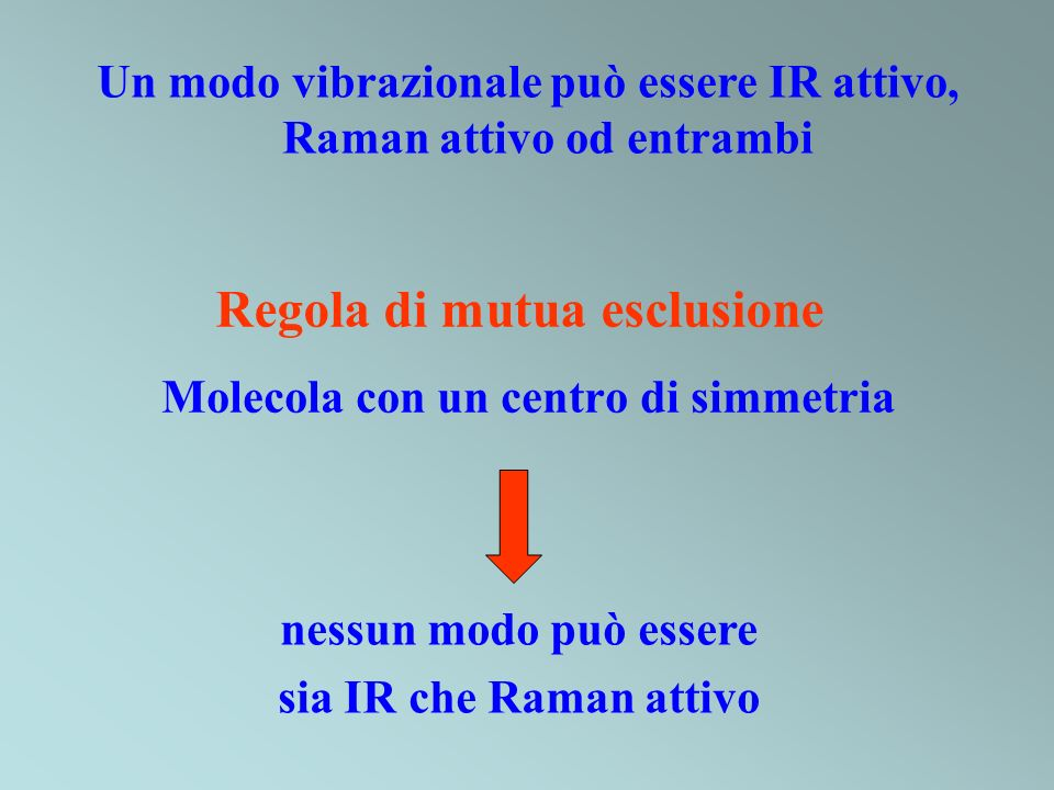 Regola di mutua esclusione Molecola con un centro di simmetria nessun modo può essere sia IR che Raman attivo Un modo vibrazionale può essere IR attiv