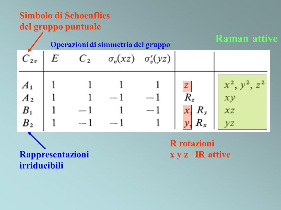 Simbolo di Schoenflies del gruppo puntuale Operazioni di simmetria del gruppo Rappresentazioni irriducibili R rotazioni x y z IR attive Raman attive