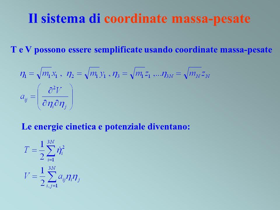 Il sistema di coordinate massa-pesate Le energie cinetica e potenziale diventano: T e V possono essere semplificate usando coordinate massa-pesate