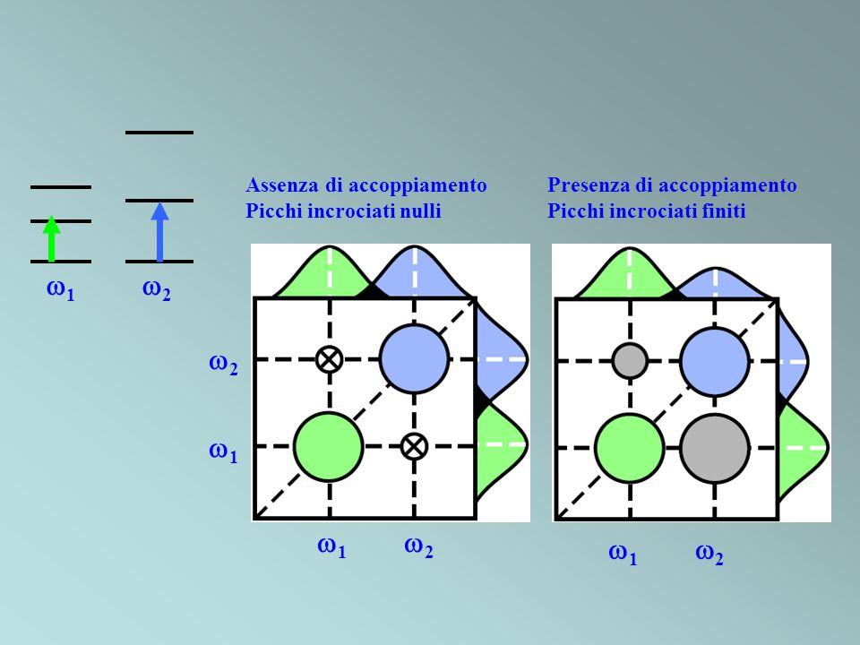 Assenza di accoppiamento Picchi incrociati nulli Presenza di accoppiamento Picchi incrociati finiti 1 2 1 2