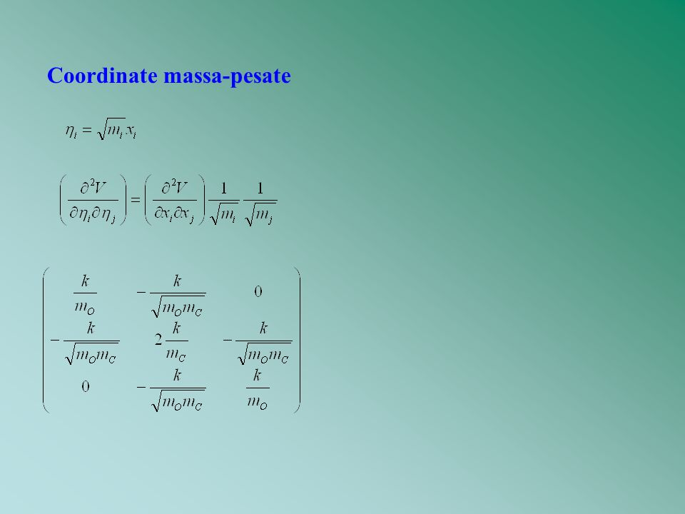 Vogliamo esprimere il potenziale nella forma Diagonalizziamo la matrice delle derivate