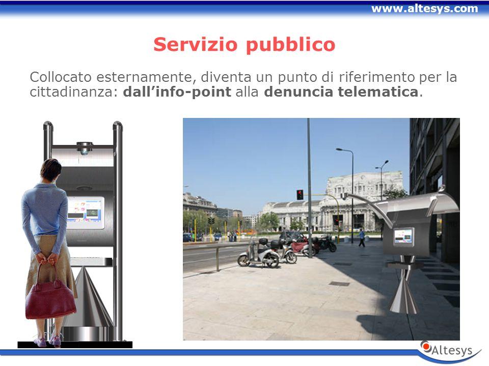 www.altesys.com Servizio pubblico Collocato esternamente, diventa un punto di riferimento per la cittadinanza: dallinfo-point alla denuncia telematica.